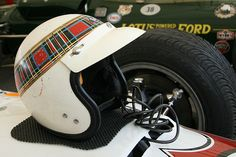 Jackie Stewart's helmet. Buco open-face helmet, latest design used in F1