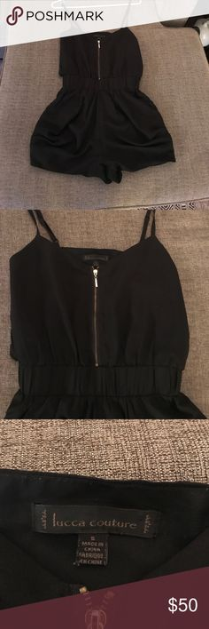 Lucca Couture Romper Black silky romper with gold zipper and elastic waist. Pleat detail on sides, with pockets. Lucca Couture Pants Jumpsuits & Rompers