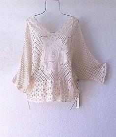 NEW~Ivory Rose Crochet Lace Peasant Blouse Shirt Boho Top~8/6/M/Medium