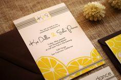 Wedding Invitation Modern Lemon Seen in Factory Yellow, Dark Grey and Ebony - Sample