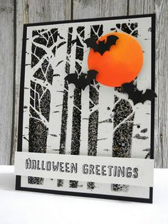 handmade card: Halloween Greetings ... balck and white with a spot of orange ... aspen trees  bare of leaves ... the bats fly in the sky ...