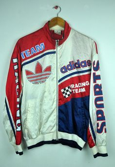 Items similar to Vintage Adidas Racing Team Big Logo Sweater Outfits For Teens, Cool Outfits, Fashion Outfits, Men's Outfits, Womens Fashion, Retro Sportswear, Nascar Jackets, Vintage Jerseys, Team Shirts