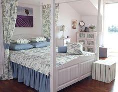 Spálňa - kolekcia Avinon    #spalna#avinon#vankuse#prehoz#taburetka#zavesy Pastel Bedroom, Pastel Interior, Attic Rooms, Sweet Home, Loft, Living Room, Furniture, Home Decor, Bedroom Bed