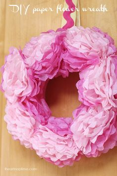 DIY tissue paper wreath on iheartnaptime.com -so cute and inexpensive!
