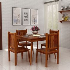 Buy Dawson 4 Seater Dining Set (Honey Finish) Online in India - Wooden Street Dining Room Furniture, Outdoor Furniture Sets, Dining Chairs, Dining Table, Outdoor Decor, Small Dining Sets, Wooden Street, Upholstered Chairs, India