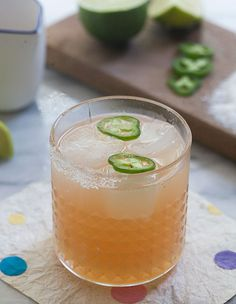 This spicy paloma cocktail combines tequila, grapefruit juice, and jalapeños for a refreshing drink recipe from PBS Food. Add the sugar and salt rim. Refreshing Drinks, Fun Drinks, Yummy Drinks, Beverages, Party Drinks, Summer Cocktails, Cocktail Drinks, Cocktail Recipes, Vodka Recipes