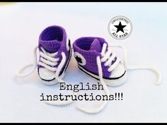 """Baby shoes """"Crocheted All Star"""" (English Instructions) - YouTube"""