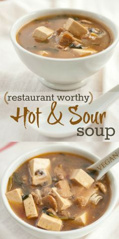 Restaurant Worthy Hot & Sour Soup | Produce On Parade - This is the real deal! Vegetarian Soup, Vegan Soups, Vegan Dishes, Vegetarian Recipes, Seitan, Tempeh, Tamari Sauce, Soy Sauce, Tofu Recipes