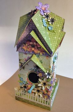 Laura Denison as Following the Paper Trail creating a May birdhouse w/mini album; April 2013