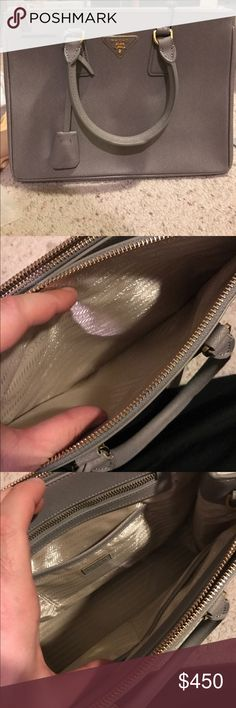 Grey Prada Handbag New. Was a gift from my aunt, It's been in my closet for about a year. Asking so little because I'm in need of money and don't really feel I should sell for so much. Comes with authentication card. Basically new. If I'm not using it if feel as if someone should. Thank you! I have more detailed photos of needed! Prada Bags Shoulder Bags