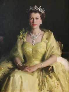 Her Majesty the Queen Elizabeth II, painted in 1954 by Sir William Dargie. Portrait of the Queen from the Parliament House Art Collection.