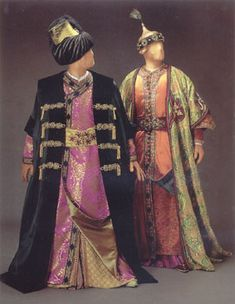 "Costume for Bajazet and Tamerlano, Act II, Handel's opera, ""Tamerlano"", 1995 Glimmerglass production, designed by theatrical designer, Judy Levin. ""Inspired by"", NOT period clothing."