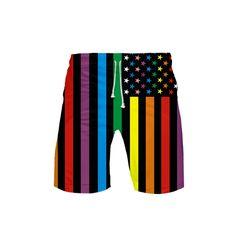 Custom Colorful Rainbow Love Wins Heart Pattern Shorts For Mens Elastic Waist Pockets Lightweight Beach Shorts Boardshort