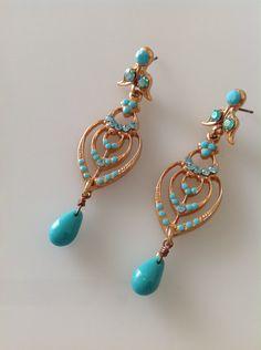 Turquoise earrings,rose gold colored earrings,long earrings,crystal earrings women,birthday gift,women's jewelry,turquoise jewel by PassionByMaya on Etsy