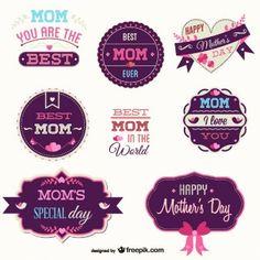 Dia emblemas livre do vetor da mãe definido