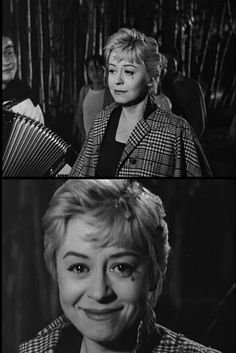 """Giulietta Masina in final shot of Nights of Cabiria (1957, dir. Federico Fellini) """"Giulietta's portrayal of Cabiria reminds me, as it has many people, of Chaplin's tramp, even more so than her [character in La Strada] Gelsomina. I leave Cabiria..."""