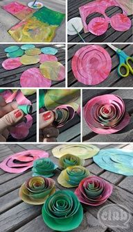 Oooo, Paper Flowers great for Monet waterlilies :) to go along with maskin tape monet.  good to do for mothers day