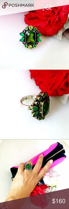 Nicky Butler Large Gemstone Ring Sterling silver setting with larger center green Quartz surrounded with peridots, green quartz, emeralds and amethyst. All gemstones are polished, cut and faceted. Nicky Butler Jewelry Rings