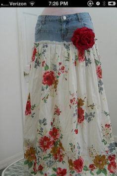 Vintage dress from old jeans.