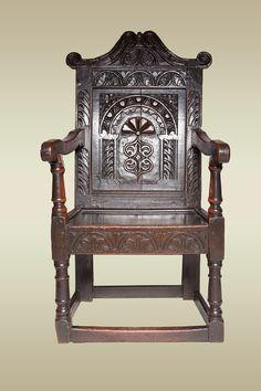 17th century wainscot chair, Marhamchurch antiques.
