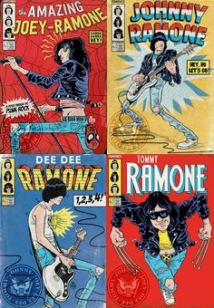 Its a Punk universe — The Ramones by Marvel Comics Rock Posters, Band Posters, Concert Posters, Gig Poster, Retro Posters, Musik Illustration, Illustration Photo, Ramones, Music Covers