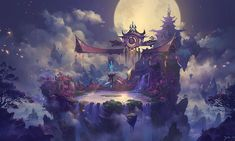 Far Eastern temples rise over floating islands under the moonlight. Jiecgart (9)