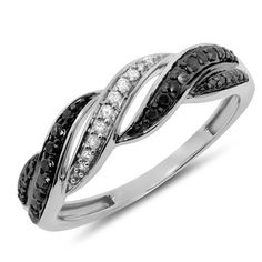 0.24 Carat (ctw) 10k Two 2 Tone Gold Black Diamond Infinity Twisting Swirl Anniversary Fashion Band Ring * To view further, visit now : Wedding Rings