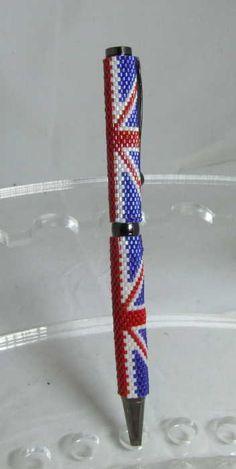 Glass Beaded Pen - Union Jack - £18.00 : Jewellery My Design!, Handmade Sterling Silver and beaded Jewellery