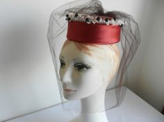 Red Satin Pillbox Hat with Pearls and Black by FrouFrou4YouYou