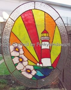 stained glass lighthouse patterns | ART DECO LIGHTHOUSE OVAL STATIC WINDOW CLING Stained Glass 'Effects ...