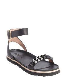 Rachel Zoeblack leather 'Finley' studded flatbed sandals