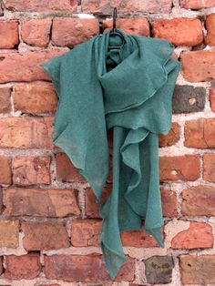 Green Linen Scarf Shawl Wrap Stole Light by Initasworks on Etsy, $85.00