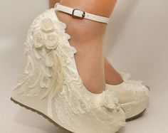 Ivory Wedges ,Wedding Wedge , Wedges, Bridal Wedges,Bridal Shoes, Bridal Platform Wedges, Bridal Ivory Wedges, Ivory Wedding Shoes