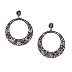 Gold K18 Tanzanite Crochet Earrings, Gold, Jewelry, Fashion, Moda, Jewlery, Jewerly, Fashion Styles, Schmuck