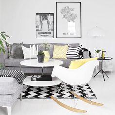 A paleta do dia é cinza preto branco e amarelo  Um básico super charmoso. E o decor é inspirado no estilo Escandinávio {já falamos dele lá no blog!} #scandinaviandesign