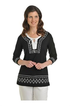 Tan Jay:  Jersey V-Neck Tie Tunic with Embroidery