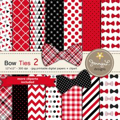 Bow Ties Digital Papers and Clipart Baby by JennyLDesignsShop