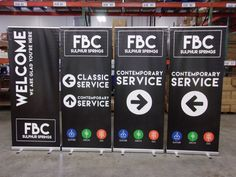 FBC Sulphur Springs used color on their black and white retractable banners to highlight their mission: Gather, Grow, and Go. Retractable Banner, Portable Display, Sulphur Springs, Banner Stands, Church Banners, Artwork Design, Service Design, Highlight, Hospitality