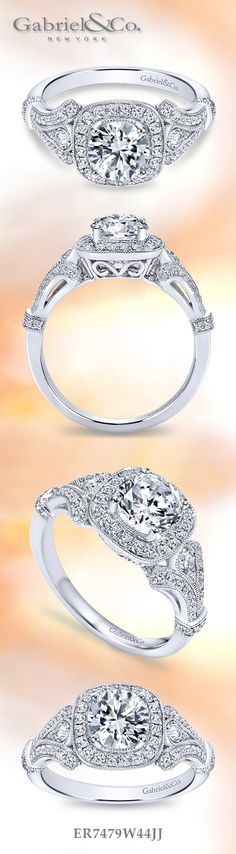 Gabriel & Co. - Voted #1 Most Preferred Bridal Brand. A dazzling 14k White Gold Round Cut Halo  Engagement Ring.