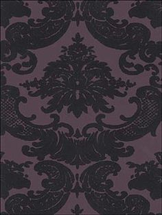 Black Velvet Damask On Purple Wallpaper by Astek Wallpaper