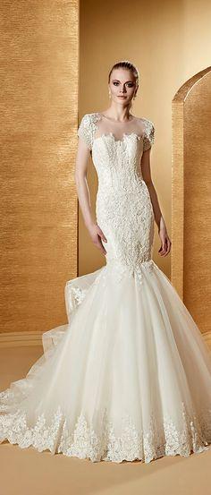 Charming Tulle & Satin Mermaid Wedding Dress 2014 Fall Natural Waist ...