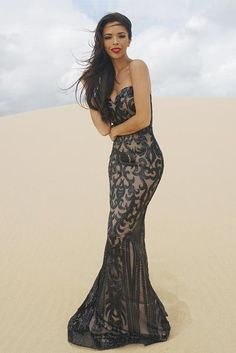 7485089e8a1e Tinaholy Couture T17101 Black Nude Sequin Thin Strap Gown Tinaholy Couture One  Honey Boutique AfterPay ZipPay