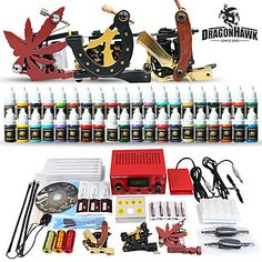 Professional Tattoo Kit 3 Top Machines 40 Color Inks Power