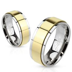 """Featuring: * Spinner Ring * Gold IP * Two Toned * Stainless Steel * Width: 8mm= 0.31"""""""