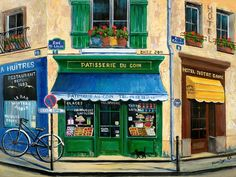 French Pastry Shop Painting  - French Pastry Shop Fine Art Print
