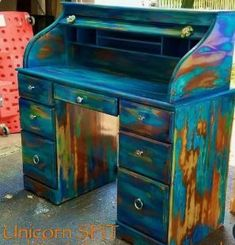 unicorn spit gel stain glaze paint for arts and crafts Plywood Furniture, Funky Painted Furniture, Western Furniture, Refurbished Furniture, Design Furniture, Art Furniture, Repurposed Furniture, Rustic Furniture, Furniture Making