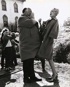 Alfred Hitchcock and Tippi Hedren on the set of The Birds