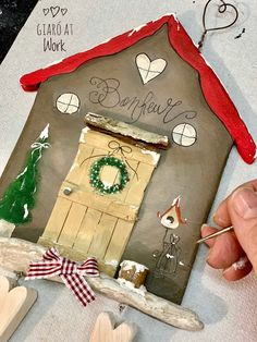 Summer Camp Crafts, Camping Crafts, Christmas Decoupage, Christmas Crafts, Christmas And New Year, Xmas, Pintura Country, Country Paintings, Wood Creations