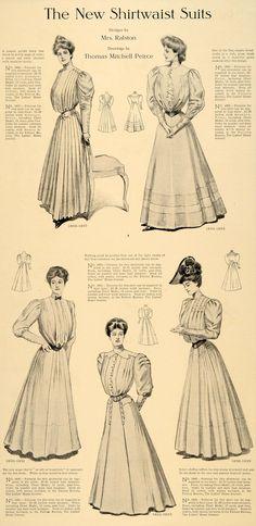 1905 Print Shirtwaist Suits Dress Skirt Ralston Gown - ORIGINAL HISTORIC IMAGE | eBay