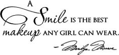 "Epic Designs, "" A smile is the best makeup any girl can wear "" MARILYN MONROE wall art wall saying quote, http://www.amazon.com/dp/B00BJTTGJC/ref=cm_sw_r_pi_awdm_a1b4sb1Q5NN3S"